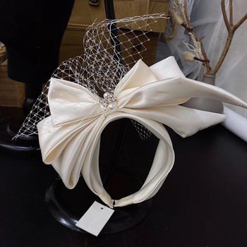 Vintage Champagne Mesh Bow Headband Bridal Headdress wedding hair Accessories - discount item  29% OFF Wedding Accessories