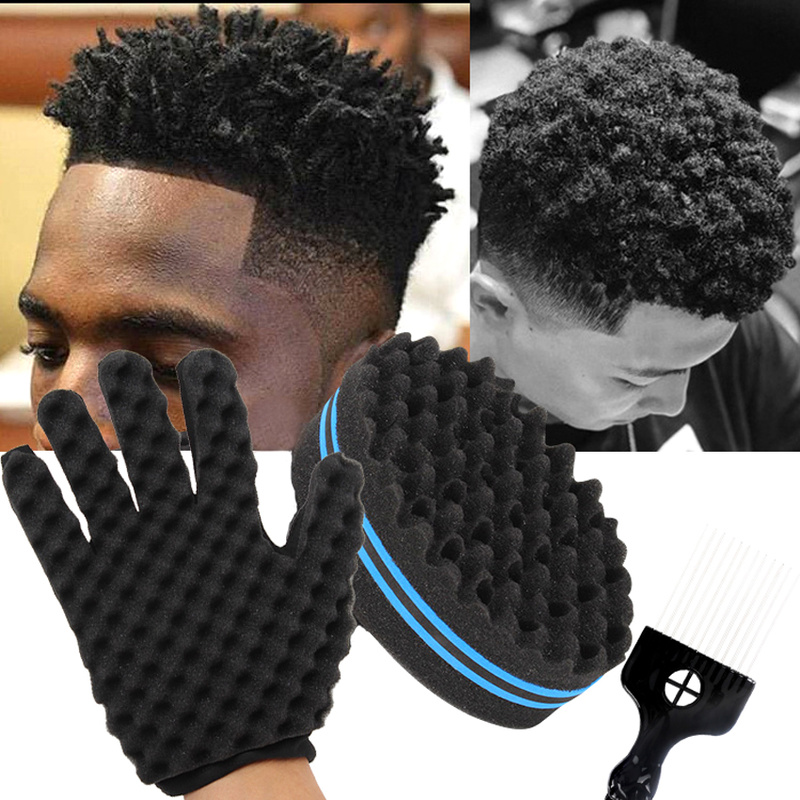 Barbershop African Hair Styling Wavy Twist Comb Green Sponge Gloves Salon Sponge Curly Fork Comb Hair Styling Tools