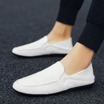 Dwayne Linen breathable male flat shoes 2018 new summer new casual driving shoes lightweight wear-resistant slippery lazy shoes 1