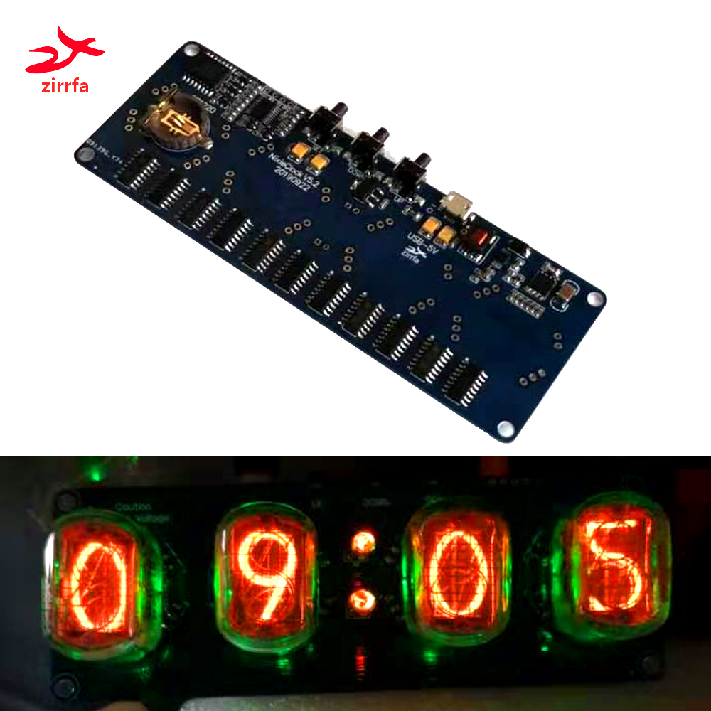 zirrfa Electronic DIY kit in4 in8 in8-2 in12 in14 in16 in17 in18Nixie Tube digital LED clock gift circuit board PCBA, No tubes image
