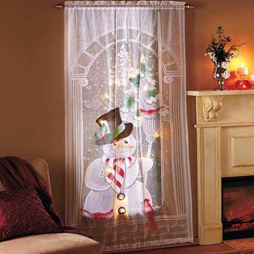 2pcs Christmas Curtains Santa Clause Reindeer Printed Blackout Curtains With Led Light For Living Room Curtain Home Textiles Curtains Aliexpress
