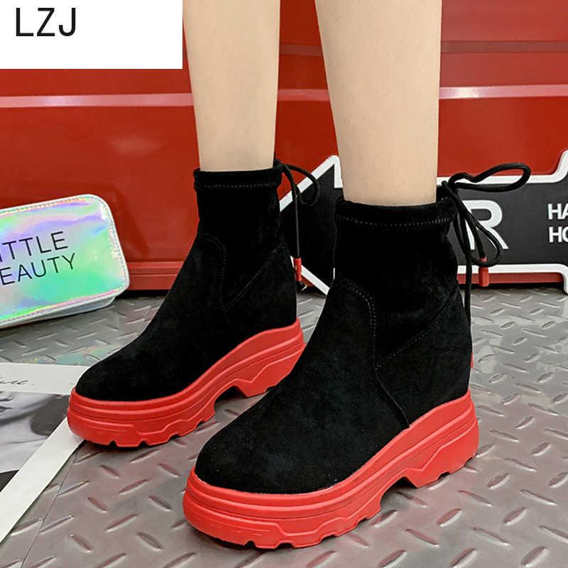 LZJ Flashion หนังนิ่มสั้นรองเท้าผู้หญิงแพลตฟอร์ม Wedges รองเท้าส้นสูง Botas Mujer Botines 2019 หนาด้านล่างรองเท้าผู้หญิง