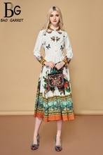 Baogarret Autumn Fashion Runway Elegant Dress Womens Long Sleeve Charming Floral Print A Line Holiday Casual 2019