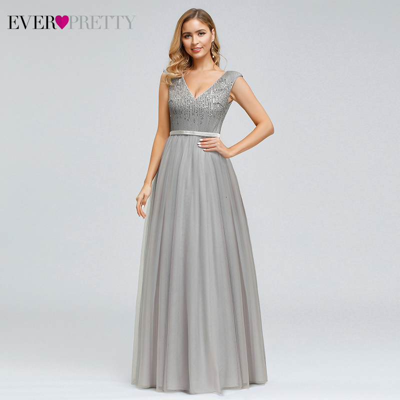Sparkle Grey Evening Dresses Eevr Pretty EP00891GY A-Line V-Neck Sequined Sleeveless Tulle Formal Gowns For Party Robe De Soiree