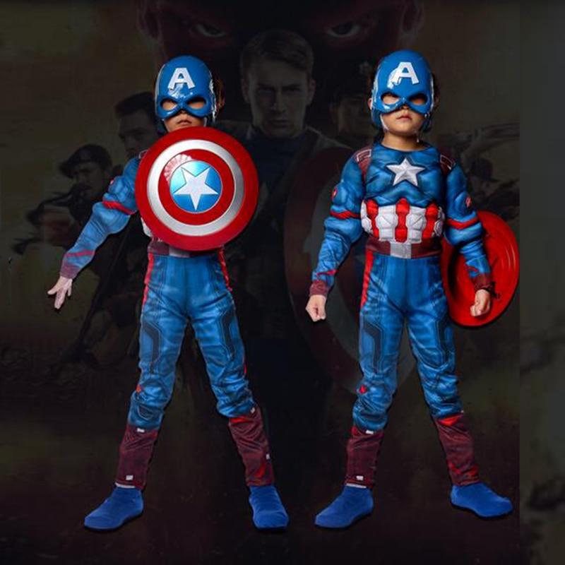 Crianças super herói anime capitão américa muscular máscara criança cosplay super herói trajes de halloween para meninos meninas s xl| |   -