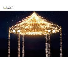 Laeacco Photo Backdrops Shiny Brilliant Bulb Baby Carousel Amusement Park Portrait Night Photography Backgrounds Photocall