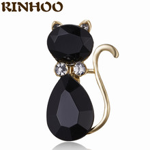 RINHOO – broches en cristal strass pour femme, breloque, chat noir, en Zircon, à la mode, bijoux pour fille