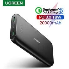 Ugreen cargador rápido de 20000mAh para teléfono móvil, batería externa portátil QC3.0 de carga rápida, para iPhone 12, XiaoMi PD