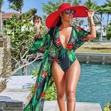 Novo maiô feminino estilo folhas floral, roupa de banho de uma peça estilo brasileiro, moda praia, verão, plus size, monokini 4xl, 2019
