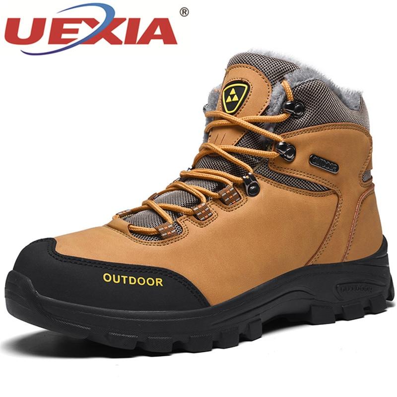 UEXIA New Men Snow Boots Winter With Fur Warm Winter Shoes Men Footwear Fashion Rubber Ankle Shoe Zapatos Hombre Botas Hombre