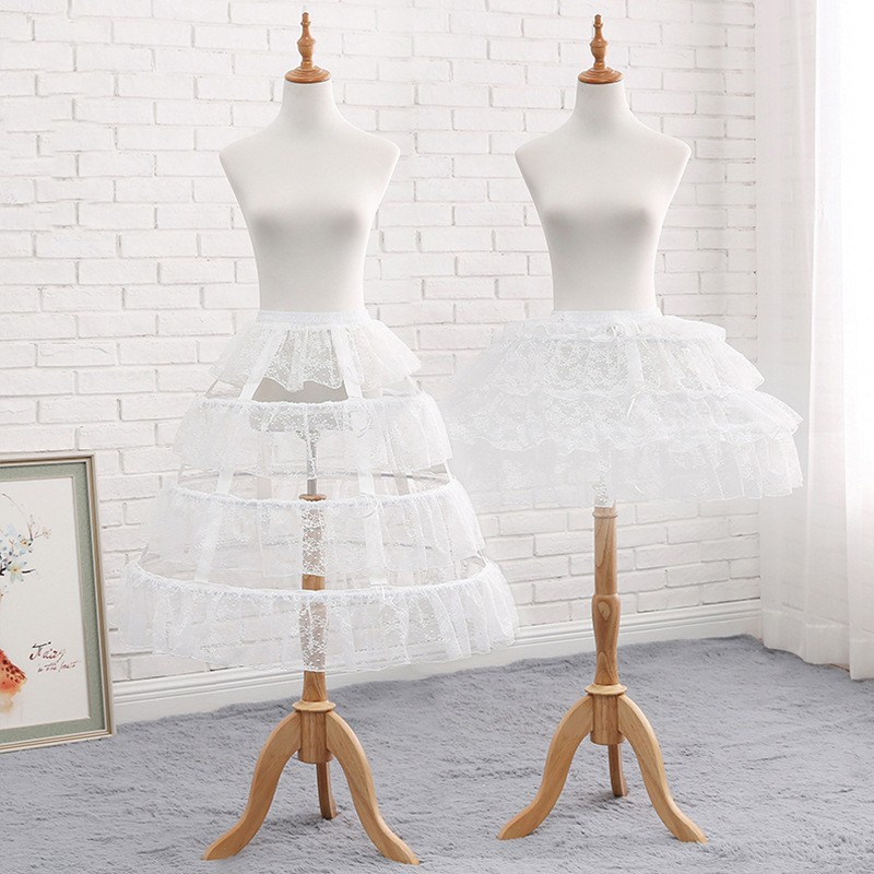Adjustable Length Vintage Lace Sheer Underskirt Crinoline Hoop Skirt Lolita Wedding Accessories Short Petticoat Hoop Skirt