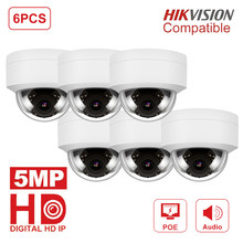 6pcs/lot Hikvision Compatible HD Security Dome CCTV Camera H.265 Outdoor 5MP POE IP Camera Audio Support IR30M Moton Detection(China)