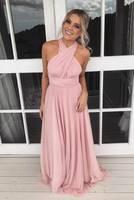 Elegant A Line Long Chiffon Infinity Transformer Bridesmaid Dresses Multi Style Floor Length Pleated Formal Wedding Party Dress