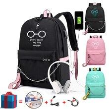 Школьный холщовый рюкзак с USB-зарядкой, многофункциональный дорожный студенческий ранец для мальчиков и девочек-подростков, Женская дорожн...