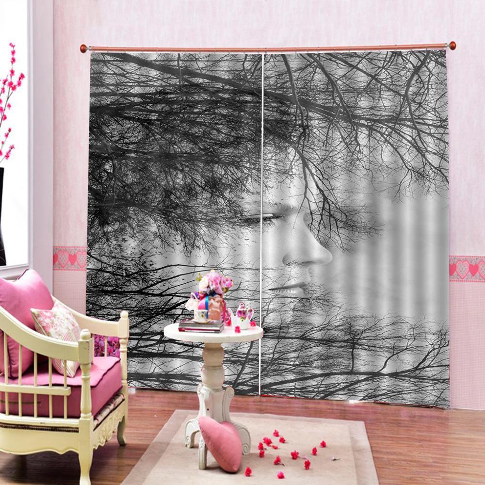 Подгонянная черная белая занавеска для душа ветви деревьев декор для естественной жизни Осенняя тематическая спальня затемненная занавеска для лица