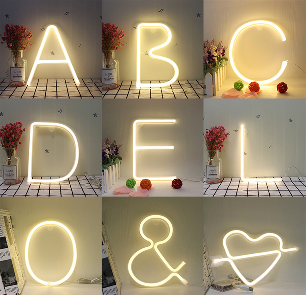 Alphabet Night Light Neon Lamp 26 Letters Number Color Change For Birthday Wedding Party Bedroom Wall Lamp Decor Light Letters