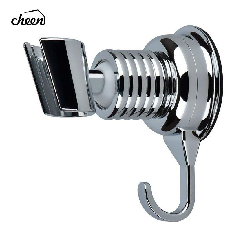 Shower Head Holder Angle Adjustable Vacuum Suction Cup Handheld Shower Bracket Bathroom Wall Head Holder Mount With Towel Hook