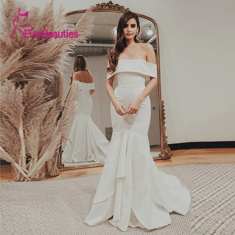 Satin Sleeveless White Ivory Wedding Dresses Robe De Mariee Boat Neck Trouwjurk 2020 Suknia Slubna Marriage Abito Da Sposa
