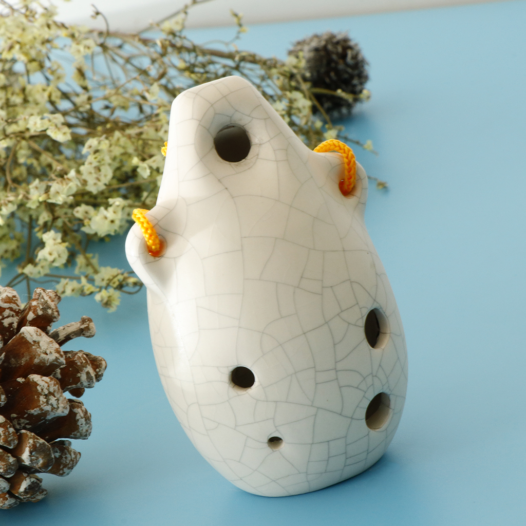 6 Hole Ceramic Ocarina Alto C Key With Lanyard, Ocarina Collectible Souvenir