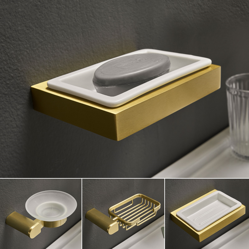 Creative Brushed Gold Soap Dish Holder Space Aluminum Soap Tray Holder Soap Box Drain Toilet Ceramic Dishes Bathroom Accessories