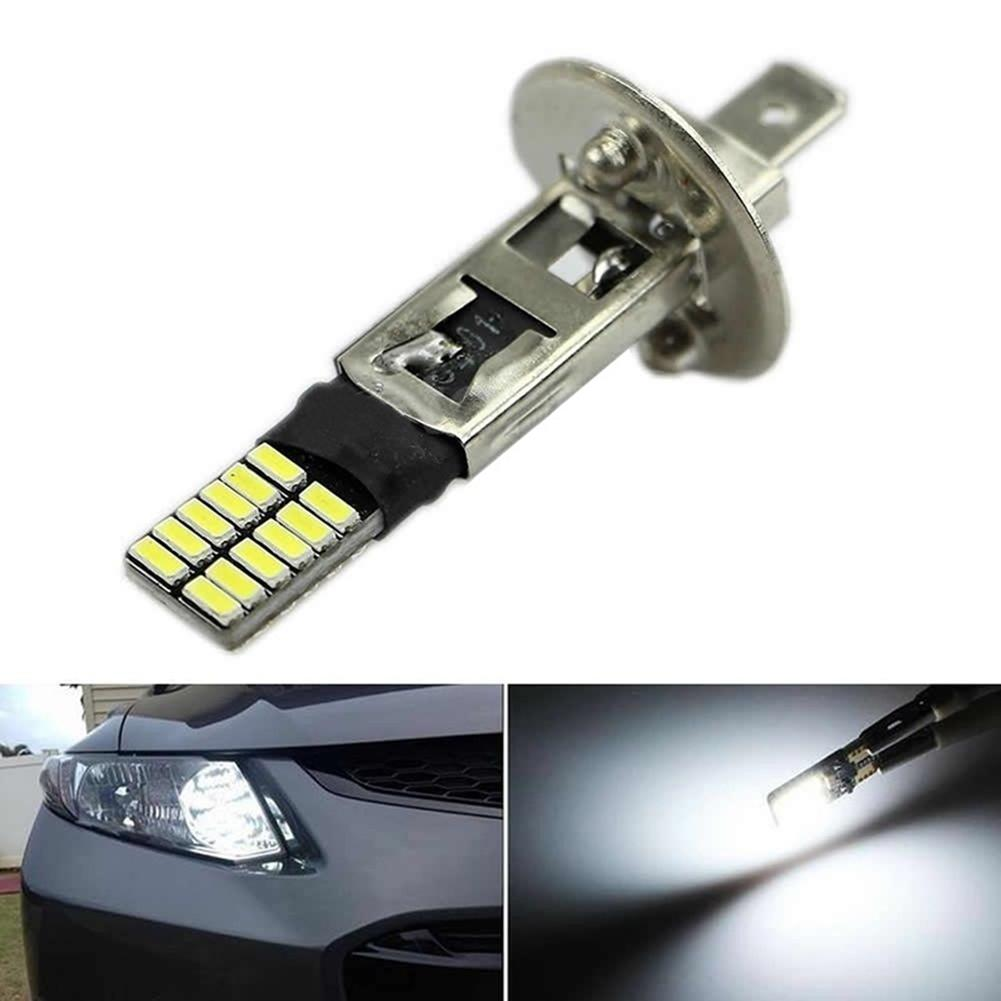 6500K 12V HID Xenon White 24-SMD H1 LED Car Replacement Bulb Headlight Quartz Glass Motorcycle Car Headlight Lamp