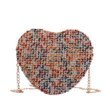 Mini Bags 2019 Korean Aixinbao Fabric Lovely Peach Heart-shaped Single Shoulder Slant Chain Women's Bag(China)