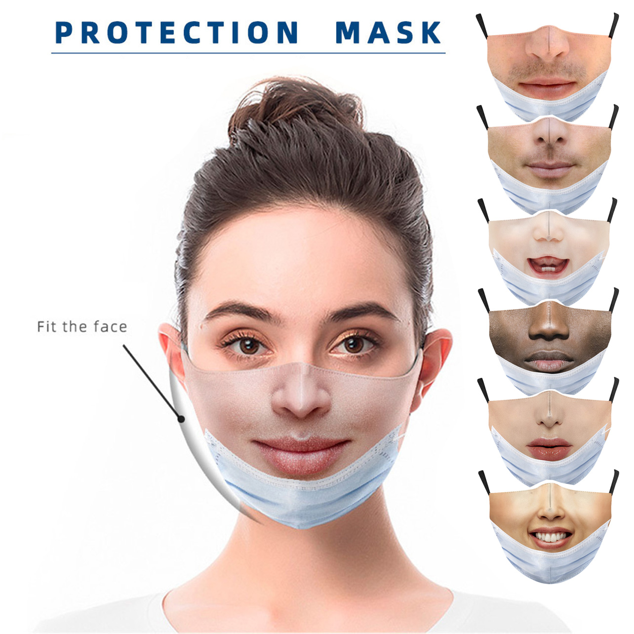 New Funny Face Mouth mask for face women cosplay Fashion Halloween prank Street Sports Dust-proof Breathable Protection Masks