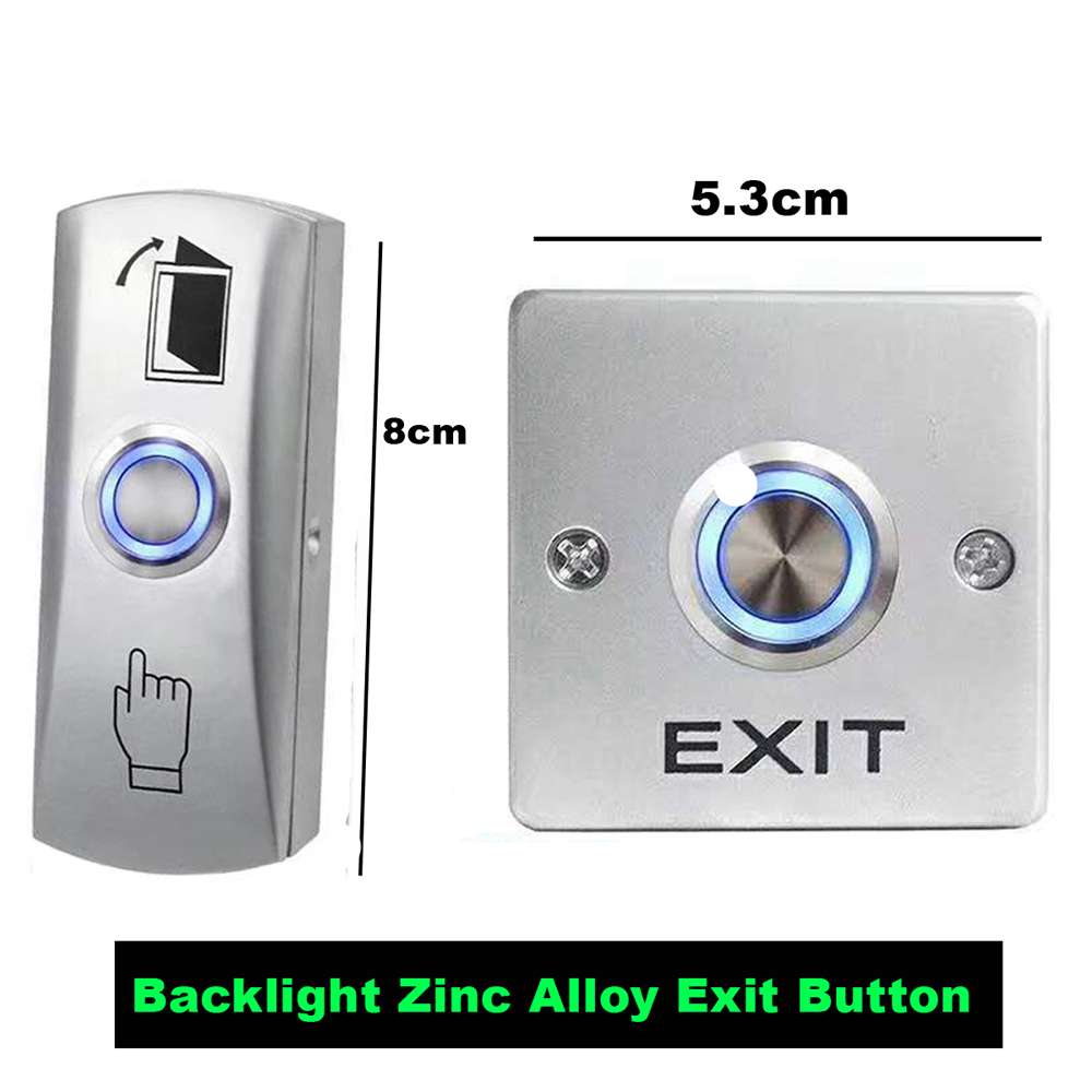 Backlight Zinc Alloy GATE DOOR Exit Button Exit Switch For Door Access Control System Door Push Exit Door Release Button Switch