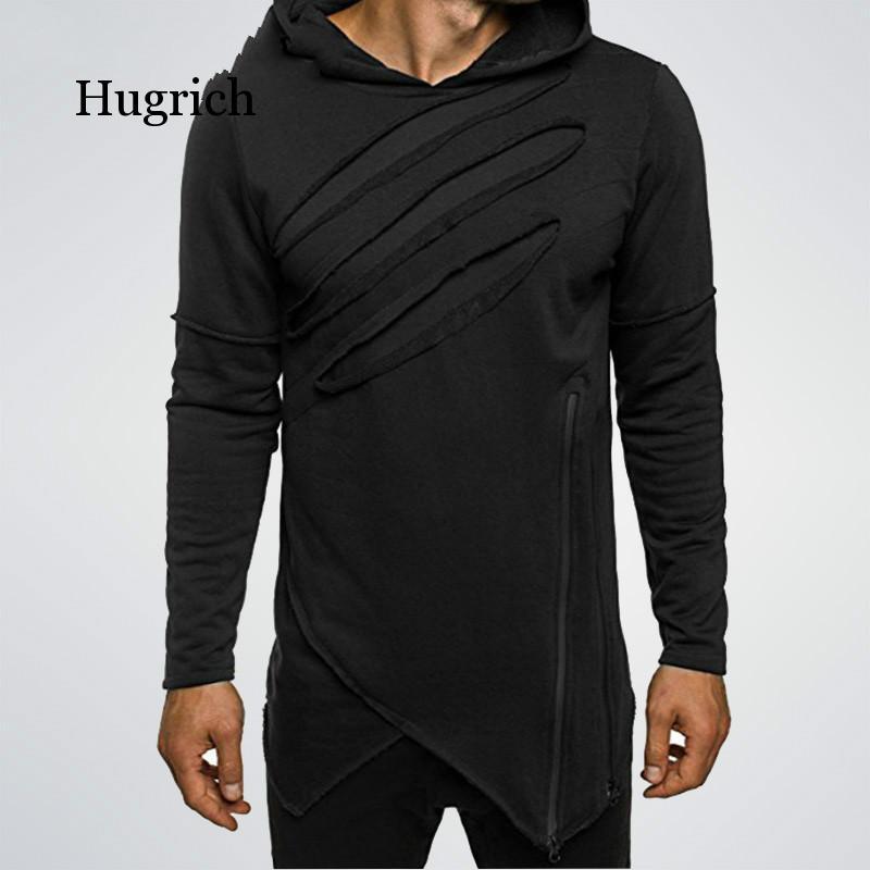 Мужские длинные черные толстовки с капюшоном на молнии необычные