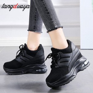 Tênis de plataforma feminino preto vermelho tênis sapatos femininos 2020 confortável cunha tênis senhoras malha almofada de ar sapatos femininos vermelho