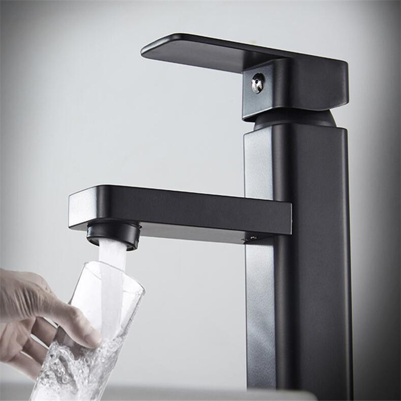 Черный квадратный смеситель для ванной комнаты из нержавеющей стали, аксессуары для ванной комнаты