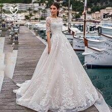 Vintage aplikler A line düğün elbisesi Swanskirt N150 2 In 1 ayrılabilir ceket mahkemesi tren Illusion gelin kıyafeti vestido de noiva