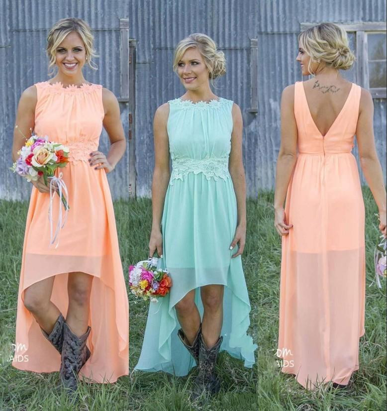 2020 New Cheap Country Bridesmaid Dresses Bateau Backless High Low Chiffon Coral Mint Green Beach Maid Of Honor Dress For Wedd