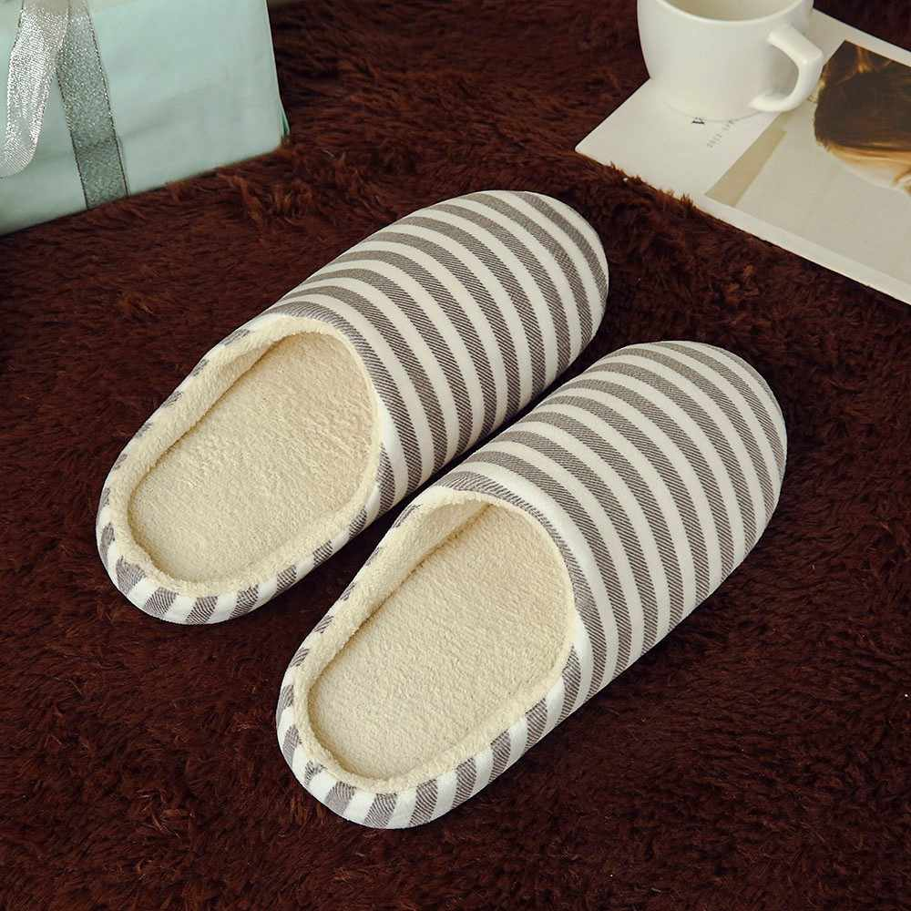 Vrouwen Mannen Schoenen Warm Gestreepte Slipper Binnenshuis Anti-slip Winter Huis zapatos hombre
