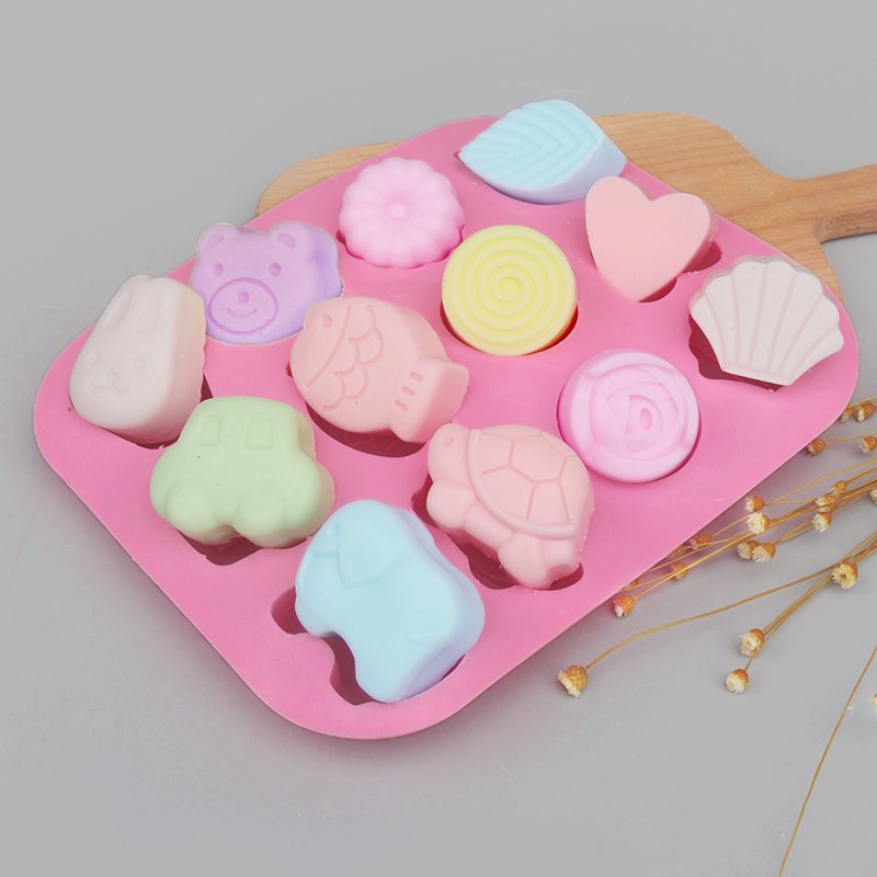 12 Shapes Silicone Soap Mold Cake Baking Mould 3D Chocolate Supplies Baking Pan Tray Molds Candy Making Tool DIY Jelly Mold