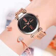 цена на Elegant New Trend Luxury Starry Sky Clock Women Watches Geometric Surface Dial Ladies Quartz Wristwatch Dress Zegarki Damskie