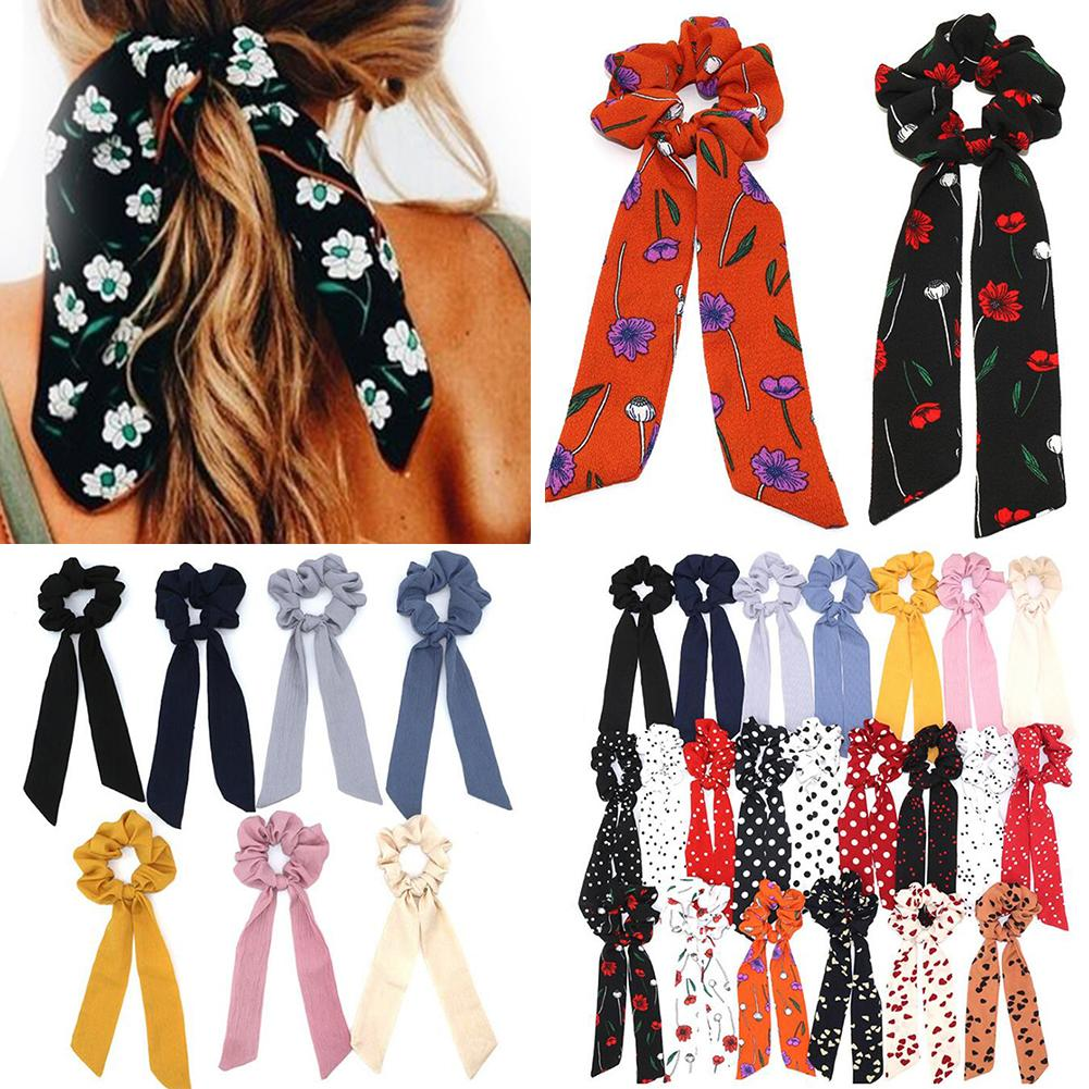 Hot Solid/Floral Print Bow Long Ribbon Girls Hair Accessories Ponytail Scarf Women Hair Tie Elastic Hair Bands Bowknot Scrunchie