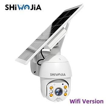 SHIWOJIA Solar Panel Camera Wifi Version PTZ 4X 1080P Outdoor Security Wireless Monitor Waterproof CCTV Smart Home Surveillance