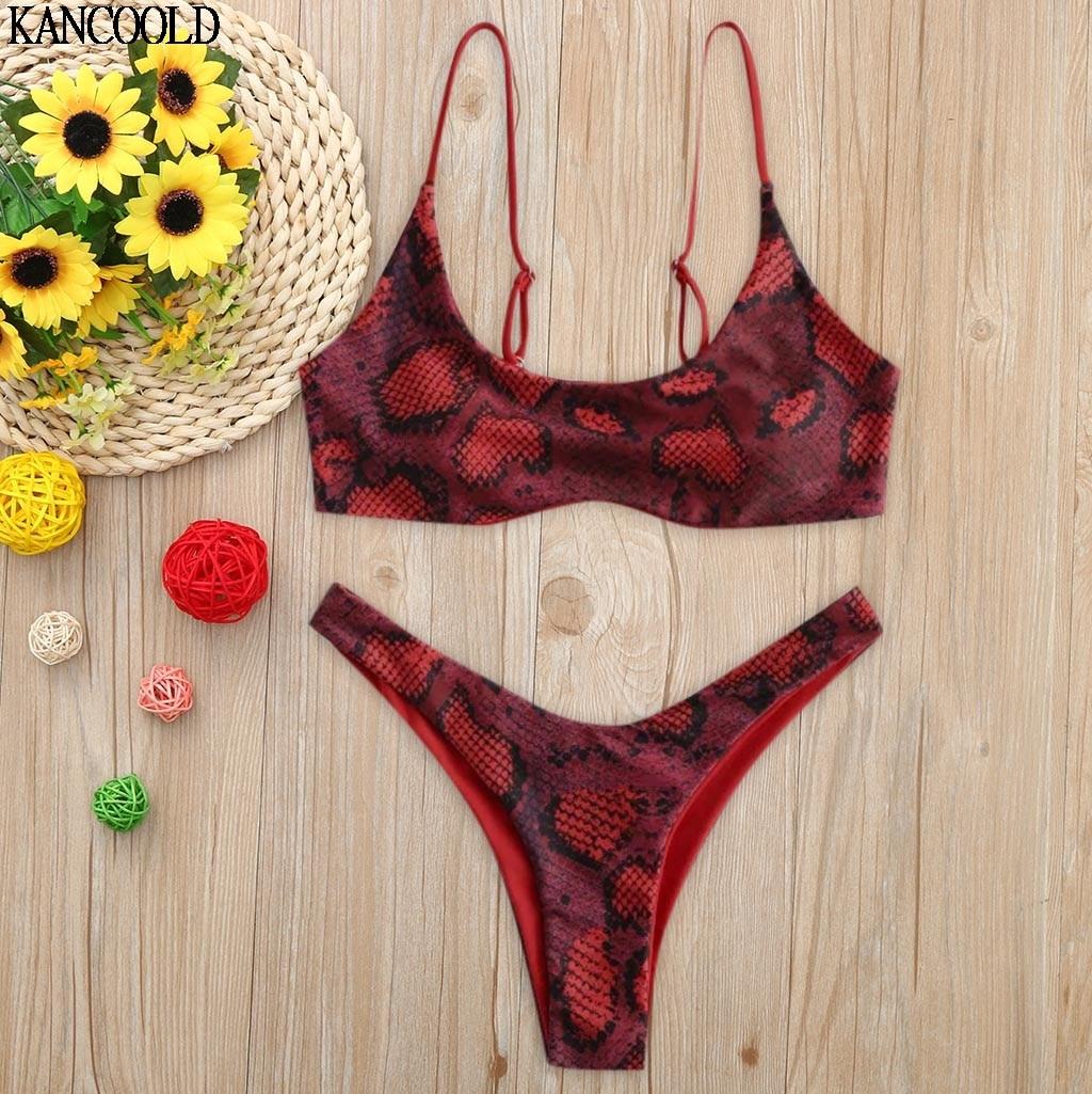 KANCOOLD Summer Daily Women Snake Skin High Cut V Neck Two Pieces Bikini Swimwear Swimsuit Beachwear