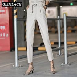 Fashion High Waist Genuine Leather Ankle Length Pencil Trousers Women Slim Sheepskin Real Leather Harem Pants Ladies Streetwear