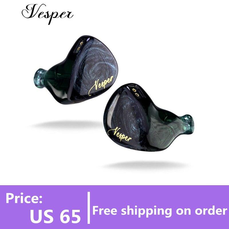 Original QOA Vesper 1BA + 1DD In Ohr Kopfhörer Hybrid Fahrer Headset HIFI DJ Monitor Kopfhörer Ohrhörer QOA ROSA DAME kinera YH623 Handy-Ohrhörer und Kopfhörer    -