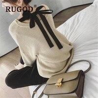 RUGOD, корейский стиль, шикарный свитер с круглым вырезом, женский, Осень-зима 2019, бандаж на спине, длинный рукав, свободные пуловеры, Femme Hiver