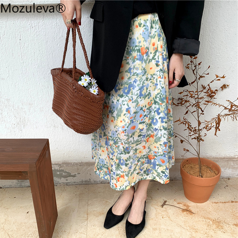 Mozuleva 2020 Vintage Painting Floral Print Women Skirts Elegant Elastic Waist One Piece Midi Female A-line Skirts With Lining