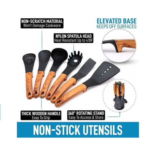 Punho de madeira utensílios de cozinha de náilon 7 peças com suporte ferramentas de cozinha suprimentos gadgets