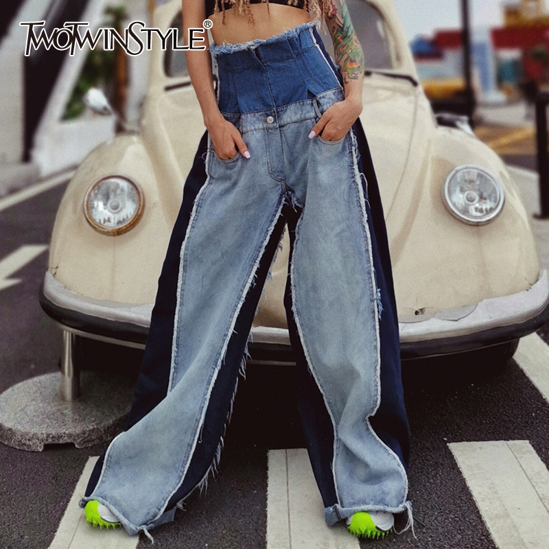 TWOTWINSTYLE Denim Patchwork Trousers Women High Waist Hit Color Large Size Wide Leg Pants Female 2020 Fashion Autumn Tide