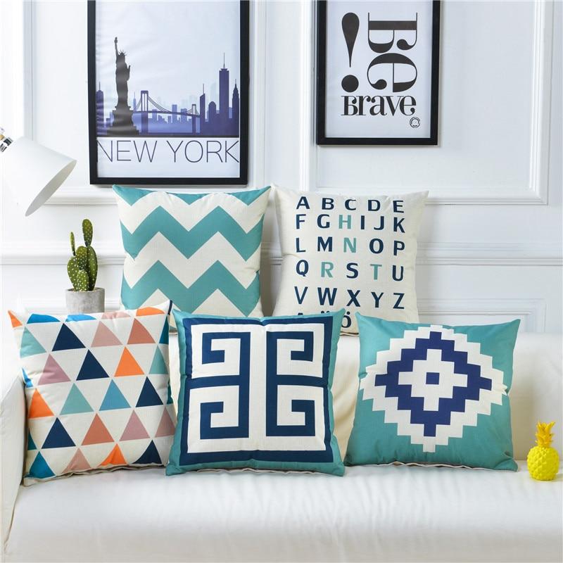 Geometric Pillow Cushion Cover 45x45cm Sofa Decorative Cotton Linen Cheap Throw Pillowcase Housse De Coussin Nordic Home Decor