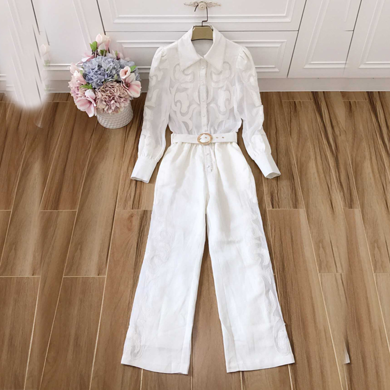 Runway Designer Embroidery High Waist Sashes Summer Woman White Playsuit Turn-Down Collar Long Sleeve Suits Vacation Playsuit