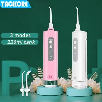 Tackore portable dental water flosser electric oral Irrigator usb rechargeable 220ML Waterproof Teeth Cleaner