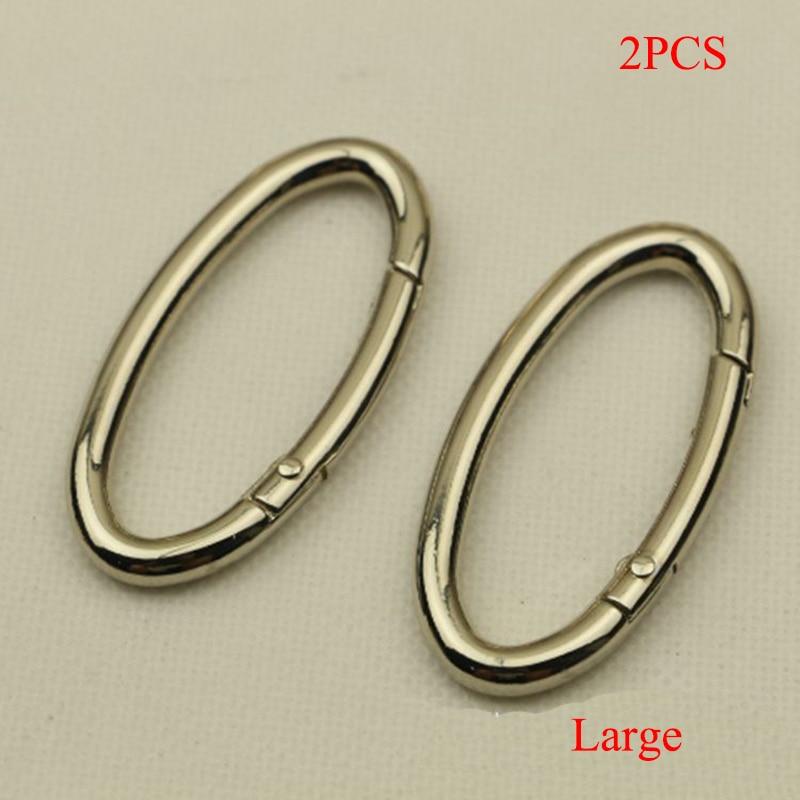 2PCS Metal Gate Spring Oval Ring Buckles Clips Carabiner Purses Handbag Hook Leather Bag Strap Buckle Snap Hook Bag Accessories
