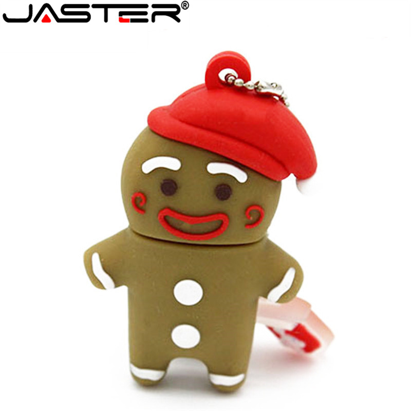 JASTER 2018 Hot Fashion Cartoon Gingerbread Man %100 Real Capacity USB 2.0 4GB 8GB 16GB 32GB 64GB Gift USB Flash Memory Stick